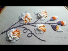 French Knot Embroidery, Hand Embroidery Videos, Embroidery Stitches Tutorial, Embroidery Flowers Pattern, Hand Embroidery Designs, Ribbon Embroidery, White Brazilian, Kutch Work Designs, Brazilian Embroidery