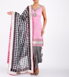 Pink Pintucked & Gota Work Kota & Mulmul Patiala Salwar Kameez