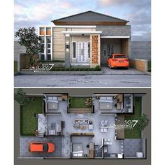 Image may contain: outdoor Home Building Design, Home Design Floor Plans, Home Room Design, Small House Design, Building A House, Modern Minimalist House, Small Modern Home, Contemporary House Plans, Modern House Plans
