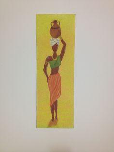 """Lamina de polyphan, donde se ha elaborado un precioso dibujo, con técnica arenas de colores. Motivo: """"mujer africana"""". Listo para enmarcar. Se puede hacer por encargo, contactar con nosotros. Medidas: 15 x 45 cm. Precio 15€. Gastos de envío gratuitos a partir de 35€  http://www.telasytentaciones.com/es/inicio/nuestro-rincon-artesanal/artesania/cuadro-de-arena-joven-africana#sthash.1LClkkQC.dpuf"""