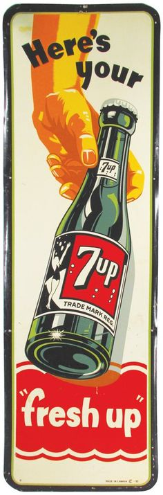 "Lot: Rare 7-Up Here's Your ""fresh up"" Tin Sign, Lot Number: 0326, Starting Bid: $200, Auctioneer: Showtime Auction Services, Auction: Showtime Auctions Spring Auction 1st Session, Date: April 10th, 2015"