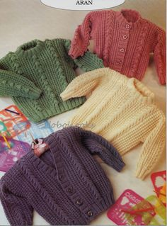 Baby Knitting Pattern Childs Knitting Pattern aran jumper aran sweater aran cardigans 20-26inches ARAN knitting pattern PDF instant download