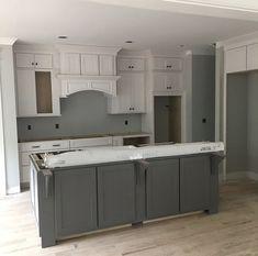 Island - SW Gauntlet Gray White kitchen with gray island. Grey Kitchen Walls, Grey Kitchen Island, Grey Kitchen Cabinets, Kitchen Cabinet Colors, Grey Kitchens, Painting Kitchen Cabinets, Kitchen Redo, Rustic Kitchen, New Kitchen