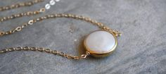 Freshwater Coin Pearl Bezel 14k Gold Filled Necklace - 13 - 40