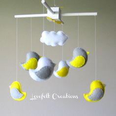 Baby Crib Mobile  Baby Mobile  Baby Mobile Birds  by LoveFeltXoXo, $90.00 --- I could try to make this.