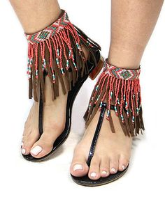 Another great find on #zulily! Brown & Coral Beaded Fringe Suede Anklet #zulilyfinds