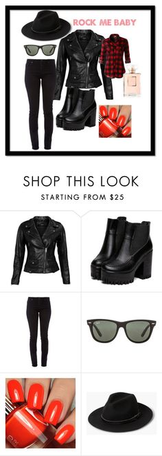 Rock me by izza-andretti on Polyvore featuring moda, LE3NO, VIPARO, AG Adriano Goldschmied, MANGO, Ray-Ban, city, rock, Street and folow