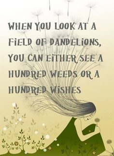 When you look at a field od dandelions, you can either see a hundred weeds or a hundred wishes