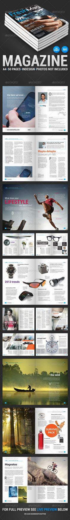 FreshMag 50 Page Magazine — InDesign INDD #professional #text • Available here → https://graphicriver.net/item/freshmag-50-page-magazine/4245093?ref=pxcr
