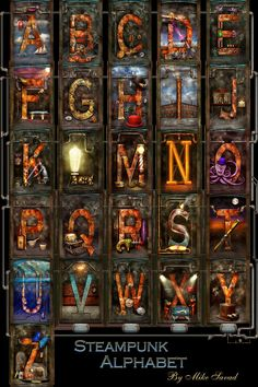 Steampunk - Alphabet - Complete Alphabet by Mike Savad - Steampunk - Alphabet - Complete Alphabet Photograph - Steampunk - Alphabet - Complete Alphabet Fine Art Prints and Posters for Sale Steampunk, Alphabet Display, Coraline Movie, Alpha Art, Typography Alphabet, Animal Alphabet, Samsung Galaxy Cases, Iphone Cases, Animal Nursery