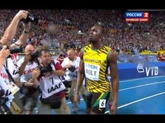 Usain Bolt - 9.77! (in downpour!) 2013 World Championship Moscow Athletics IAAF 100m - F