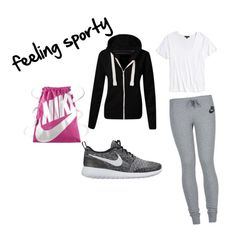 """""""feeling sporty"""" by bellafawxo on Polyvore featuring NIKE, Topshop, casual and sporty"""