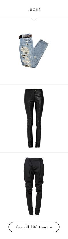 """""""Jeans"""" by avintagemystery ❤ liked on Polyvore featuring jeans, pants, bottoms, pantalones, calças, women, genuine leather pants, skinny leg pants, leather zip pants and leather skinny pants"""