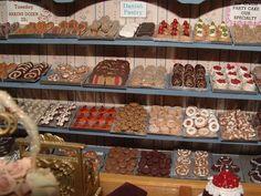 I like the slanted shelves full of little trays of baked goods