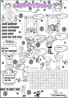 Teaching greetings in english worksheets greetings in english 2 esl it is about greetingsfill in and find the wordsit is fully editable m4hsunfo