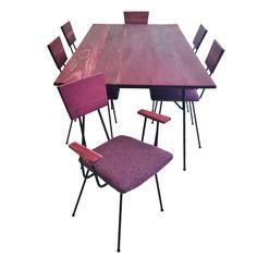 Mid Century Purple Heart Wrought Iron Dining Set $1295
