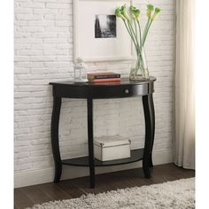 Yvonne Half-Moon Console Table with Drawer in Antique Black (Antique Black)
