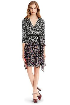 DVF Riviera Jersey and Chiffon Combo Wrap Dress in Simple Fleur Black/ Vintage Gypsy
