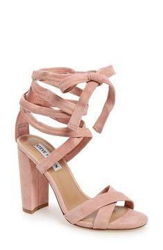 wraparound ankle sandals in rose quartz