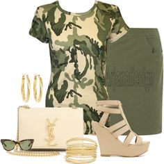 """""""Camouflage Print T-Shirt"""" by arjanadesign on Polyvore"""