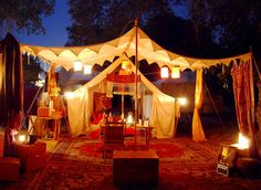Glamping, tent camping, medieval camping boho gypsy tent decor ReVamp