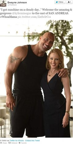 kylie minogue the rock dwayne johnson Kylie Minogue Joins Dwayne Johnsons Disaster Film San Andreas The Rock Dwayne Johnson, Rock Johnson, Dwayne The Rock, San Andreas Movie, Kylie Minouge, Wwe The Rock, Young & Hungry, Star Wars, Foto Pose