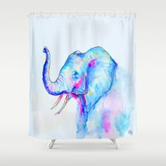 Bubblegum Elephant Shower Curtain by Heather Hartley - $68.00