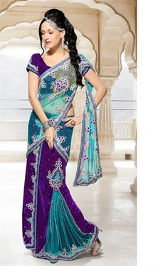 Picture of Beautiful Purple and Sky Blue color Designer Lehenga Style Saree