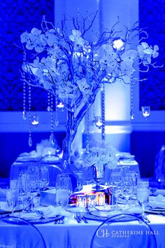 All white decor with blue lighting by Asiel Designs. Feathers, crystals, mirror glass, large lace tablecloths. Orchids, manzanita trees, candles Photographed at the Ritz-Carlton, Half Moon Bay. San Fransisco, Bay Area, Destination Wedding.