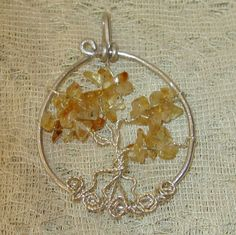 CitrineTree Of Life NecklaceWire Wrapped Jewelry by WireWrapJewels