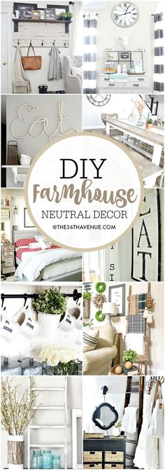 Farmhouse DIY Decor Ideas - Over 100 DIY Farmhouse Home Decor Ideas that are perfect to give your own home the charming and classic style of country living with a modern touch! by catalina