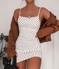 poka dot dress, spring fashion, trendy fashion fashion inspo, brown jacket, mini… – Trendy outfits - Hybrid Elektronike - Reality Worlds Tactical Gear Dark Art Relationship Goals Cute Casual Outfits, Girly Outfits, Mode Outfits, Cute Summer Outfits, Stylish Outfits, Spring Outfits, Easy Outfits, Vintage Outfits, Casual Skirts