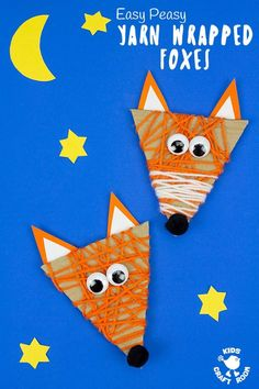 See how to make an adorable and easy Yarn Wrapped Fox Craft. A quick and easy recycled Fall craft for little hands. This Woodland Creatures craft is great for building fine motor skills. Sea Animal Crafts, Bear Crafts, Dinosaur Crafts, Animal Crafts For Kids, Fall Crafts For Kids, Art For Kids, Fox Craft Preschool, Lion Craft, Craft Activities