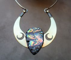 Triple Luna Goddess Necklace Crescent Moon by SilviasCreations, $200.00
