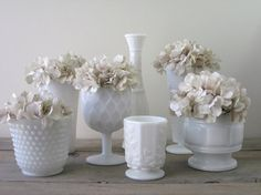 Milk Glass Vases Instant Collection Seven Piece Set by 22BayRoad, $64.00