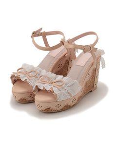 LIZ LISA Frill Lace Wedge Sandals 1