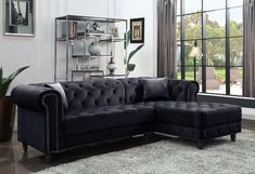 """Acme 57320 2 pc Brayden studio adnelis black velvet fabric tufted design sectional sofa with chaise. Features pocket coil seating and turned legs. Sectional measures 95"""" x 34"""" D x 61"""" L chaise x 32"""" H. Some assembly may be required."""