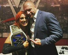 So proud of Becky Lynch on becoming the 1st ever Smackdown Womens Champion. Looks like HHH feels the same way