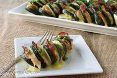 Grilled Cheesy Bacon Hassleback Zucchini