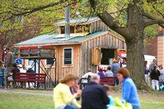 Families enjoying the Maple Festival in St. Albans, VT.