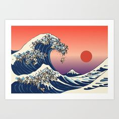Buy The Great Wave of Pug Art Print by huebucket. Worldwide shipping available at Society6.com. Just one of millions of high quality products available.