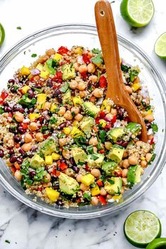Bright flavor and bold bites are what make this healthy quinoa salad with chickpeas, black beans, mango and avocado in a lime dressing the perfect meal. Vegetarian Recipes Easy, Healthy Salad Recipes, Cooking Recipes, Healthy Food, Healthy Eating, Breakfast Healthy, Keto Recipes, Clean Eating, Vegetarian Quinoa Salad