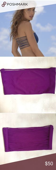 Mikoh purple bandeau medium Never worn size medium with straps in the back Mikoh Swim Bikinis
