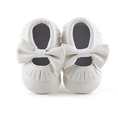 cool Delebao Infant Toddler Baby Soft Sole Tassel Bowknot Leather Moccasinss Crib Shoes (0-6 Months, White)
