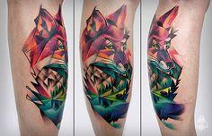 #tattoofriday - tatuagens coloridas de Carlos BreakOne inspiradas nos desenhos de grafite; Life Magazine, Watercolor Tattoo, Tatting, Body Art, Colours, Fox Tattoos, Tatoos, Inspiration, Beautiful Body