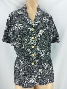 Hawaii Black White Short Sleeve Jacket Blouse 100% Cotton Size M 10  #Unbranded #BlouseJacket