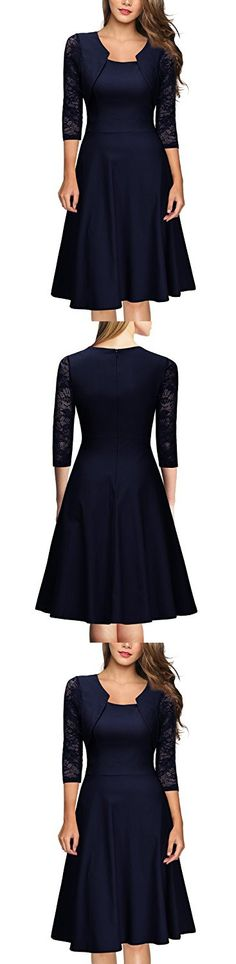 Miusol Women's Vintage Square Neck Floral Lace 2/3 Sleeve Cocktail Swing Dress (X-Large, Navy Blue)
