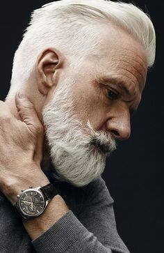 Old Man Haircut - Textured Slicked Back Undercut + White Hair + Beard - Best Hairstyles For Older Men, Mens Hairstyles Fade, Undercut Hairstyles, Haircuts For Men, Cool Hairstyles, Hairstyle Ideas, Men's Haircuts, Beautiful Hairstyles, Medium Hairstyles