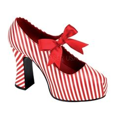 "$70 Candycane 48 two tone red white stripe platform 70s 4"" block heel shoe. Mary Jane style with elastic strap and satin red ribbon. Funtasma by Pleaser costume shoe."