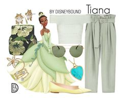 """Tiana"" by leslieakay ❤ liked on Polyvore featuring P.A.R.O.S.H., MANGO, Disney, Alexander McQueen, Jimmy Choo, Quay, Betsey Johnson, Jennifer Meyer Jewelry, disney and disneybound"
